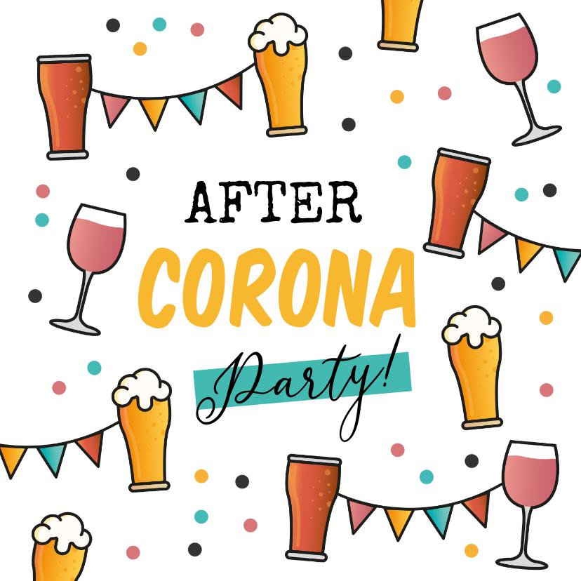 Uitnodigingen - After corona party uitnodigingskaart bier wijn cola confetti