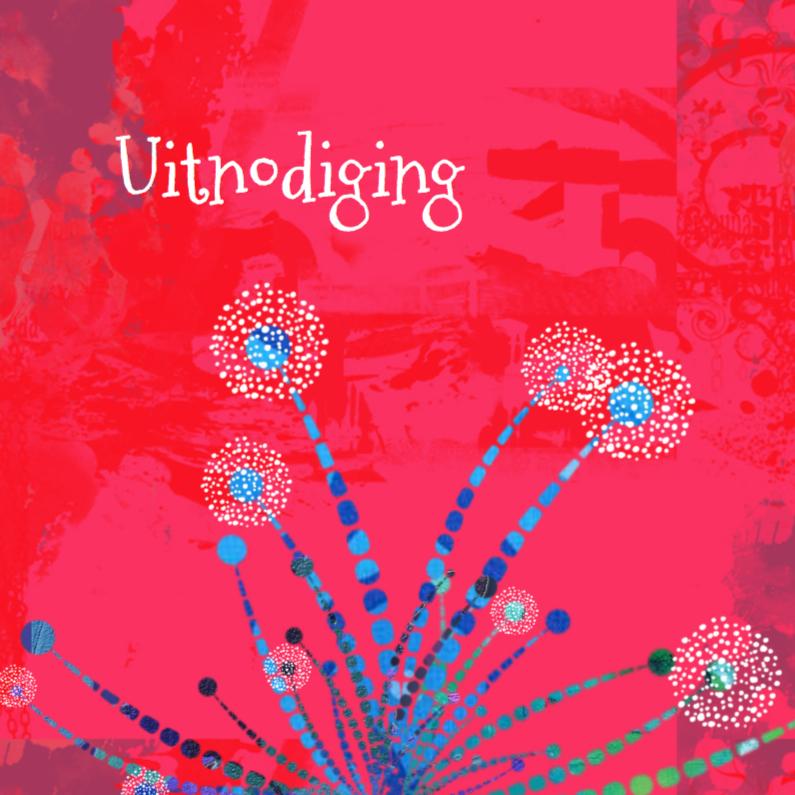 Uitnodigingen - Aparte uitnodiging in roze-rood