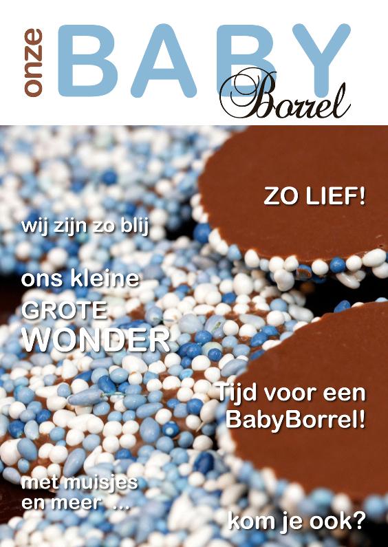 Uitnodigingen - Baby borrel uitnodiging cover blauw