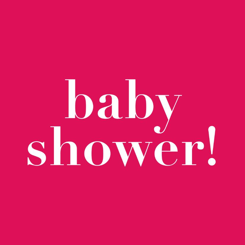 Uitnodigingen - baby shower, roze kaart