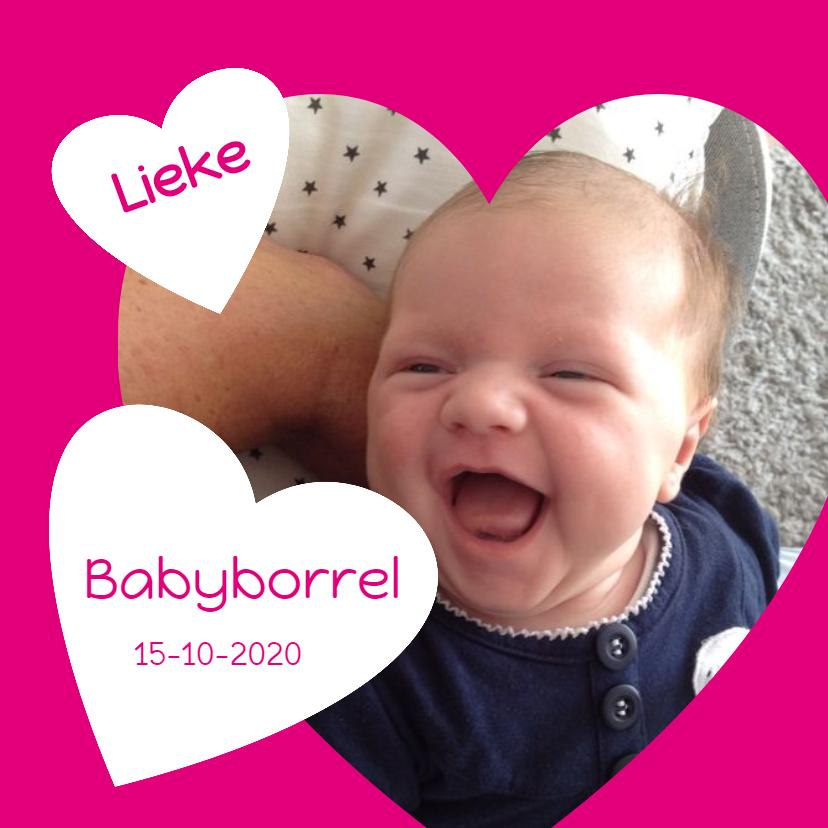 Uitnodigingen - babyborrel met hart roze