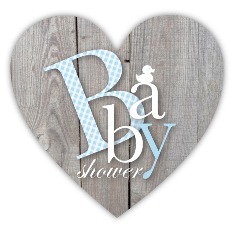 Uitnodigingen - Babyshower Letters Blauw