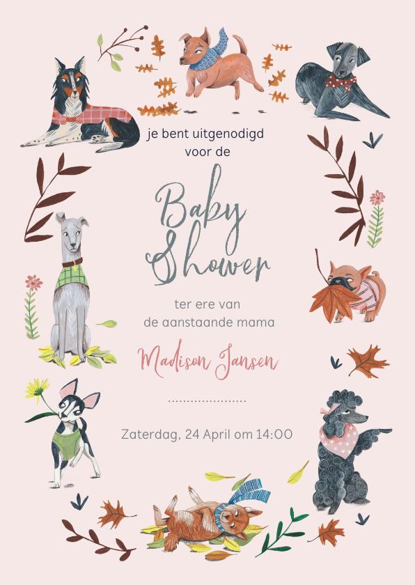 Uitnodigingen - Babyshower meisje honden en planten