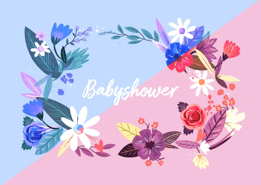 Uitnodigingen - Babyshower Time bloemen