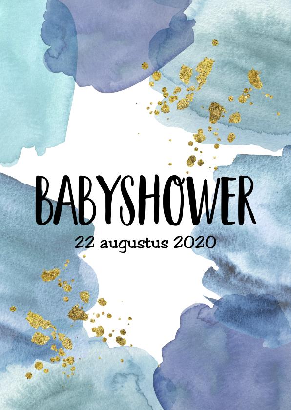 Uitnodigingen - Babyshower uitnodiging   Aquarel blauw