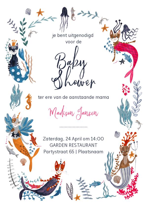 Uitnodigingen - Babyshower uitnodiging met meerkatten (mercats) en caticorns
