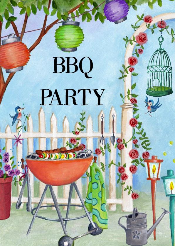 Uitnodigingen - BBQ party Tuinfeest Vrolijk Tuin Hek