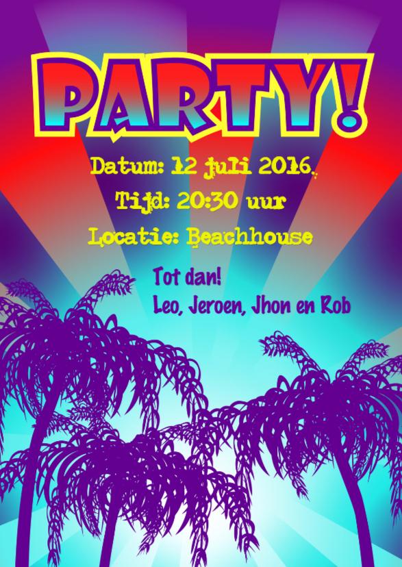 Uitnodigingen - BEACH PARTY palmbomen