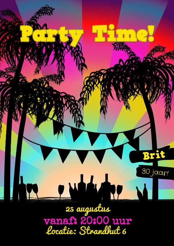 Uitnodigingen - BEACHE PARTY uitnodiging roze