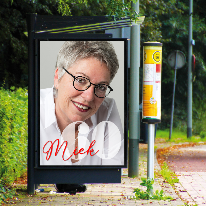 Uitnodigingen - billboard bushokje vierkant