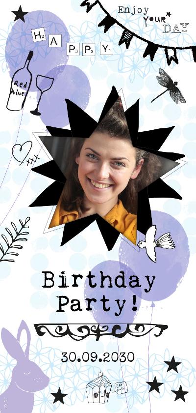Uitnodigingen - Birthday Party uitnodiging met foto, ballonnen en konijn
