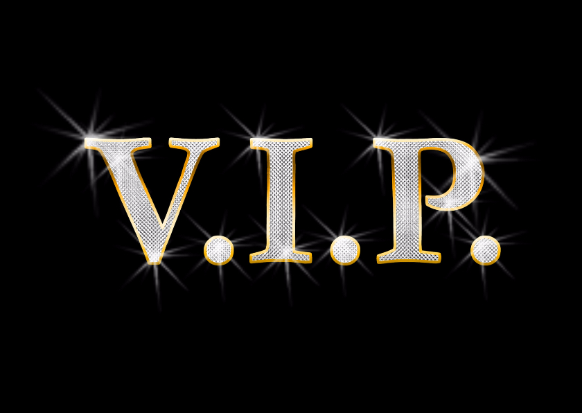 Uitnodigingen - Bling bling kaart V I P