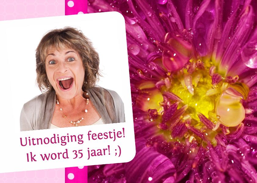Uitnodigingen - Bloemenkaart roze met geel - BK