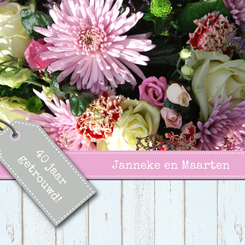 Uitnodigingen - Bloemenroze met labels