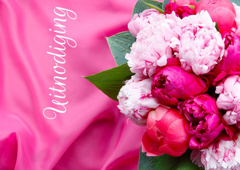 Uitnodigingen - Boeket op een roze ondergrond