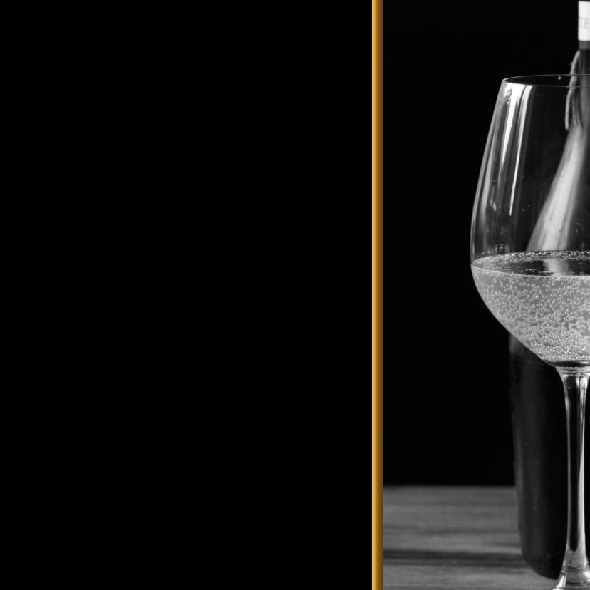 Uitnodigingen - Borrel wijnglas chique