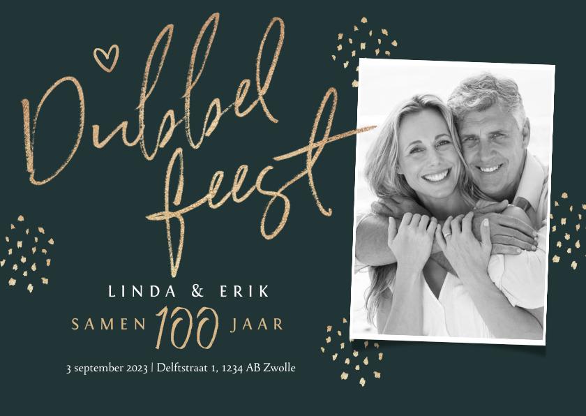 Uitnodigingen - Dubbel feest uitnodiging samen 100 stijlvol goud foto