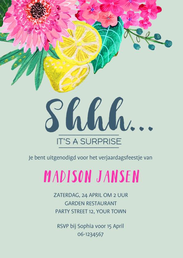 Uitnodigingen - Een Surprise Party met tropische bloemen