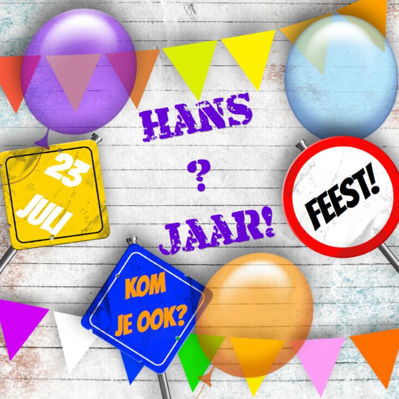 Uitnodigingen - feest ballonnen en vlaggen a