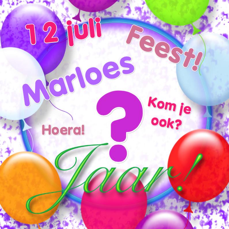 Uitnodigingen - Feest ballonnen hout fun b