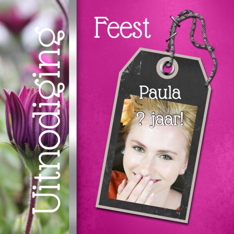 Uitnodigingen - Feest bloemen zelf aanpassen f