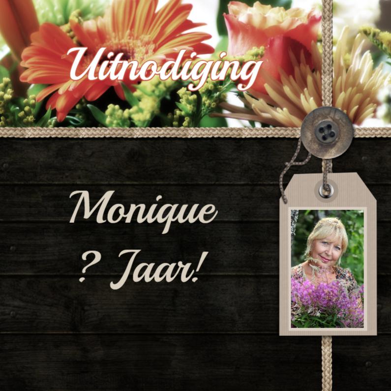 Uitnodigingen - Feest bloemen zelf aanpassen g