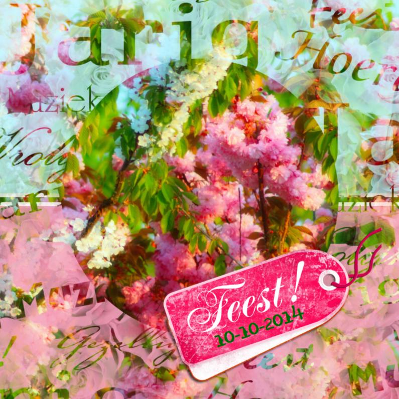 Uitnodigingen - Feest bloemen zelf afmaken a