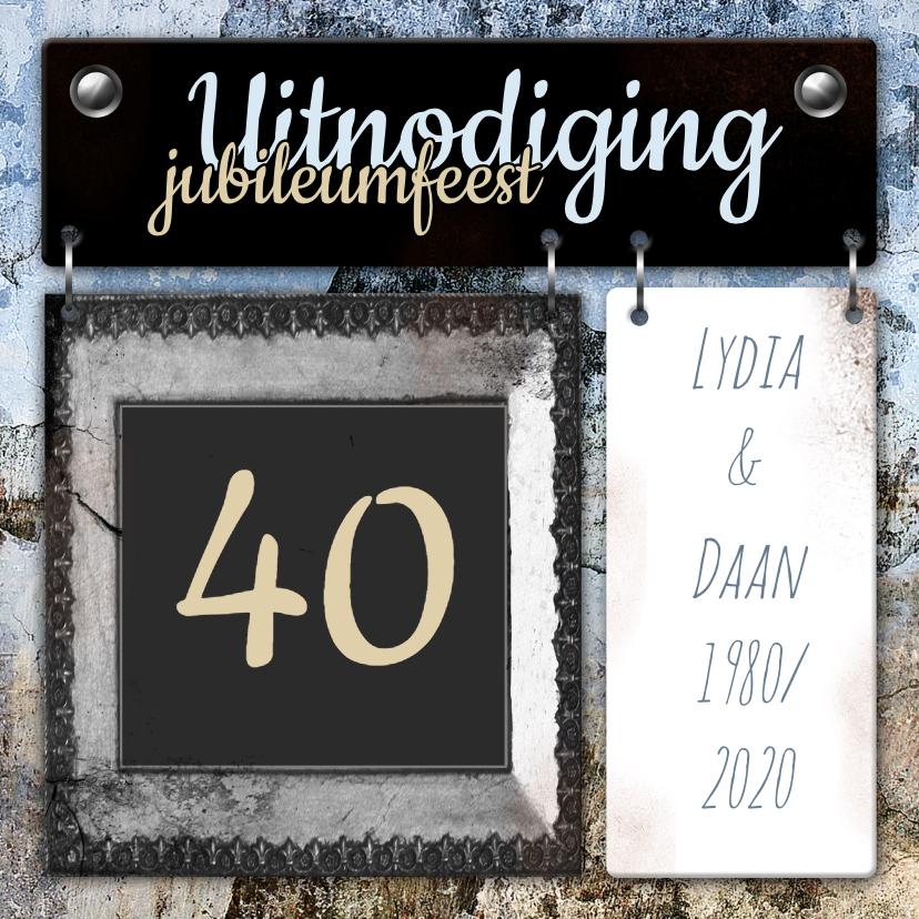 Uitnodigingen - Feest borden jubileum vintage a
