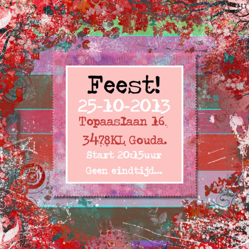 Uitnodigingen - Feest colors plaats tekst en of foto