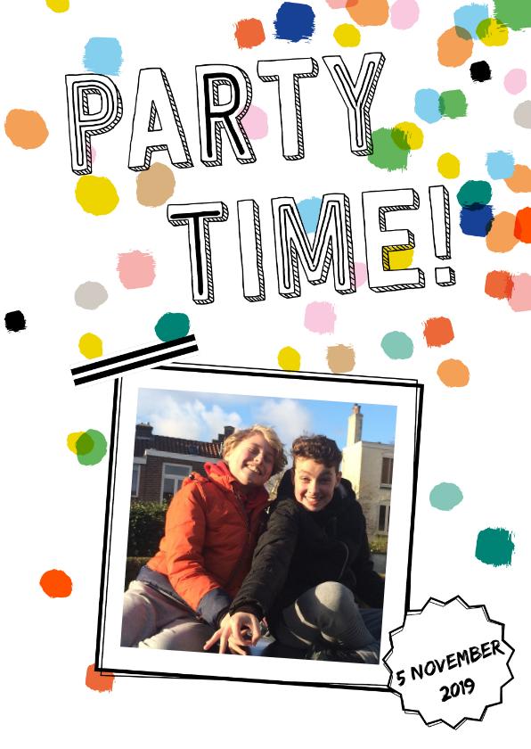 Uitnodigingen - Feest confetti eigen foto
