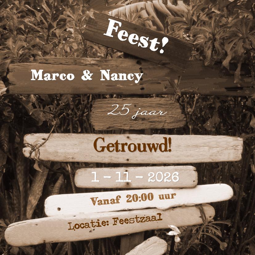 Uitnodigingen - FEEST paal met drijfhout SEPIA