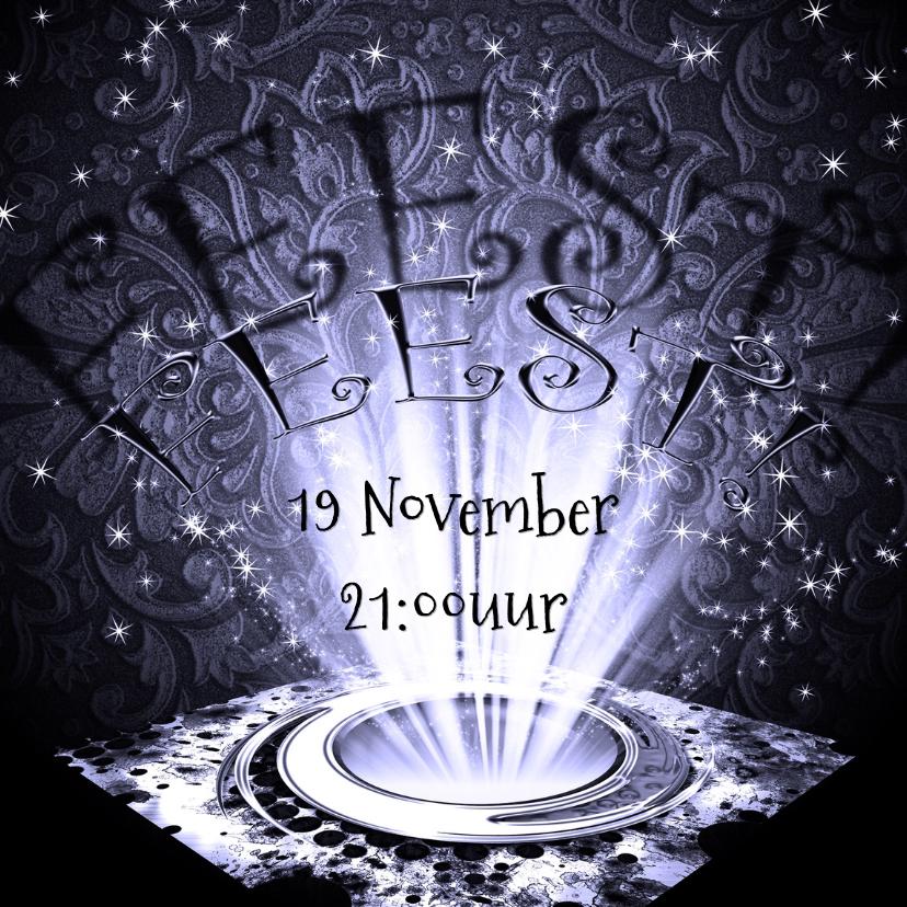 Uitnodigingen - Feest sfeer licht paars