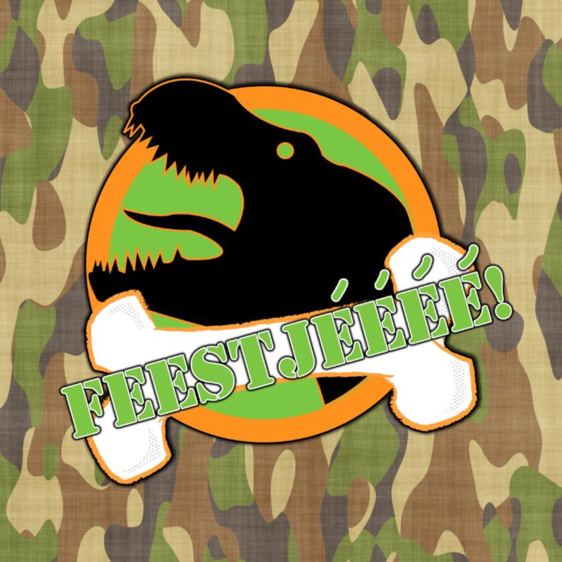 Uitnodigingen - Feest T-rex legerprint