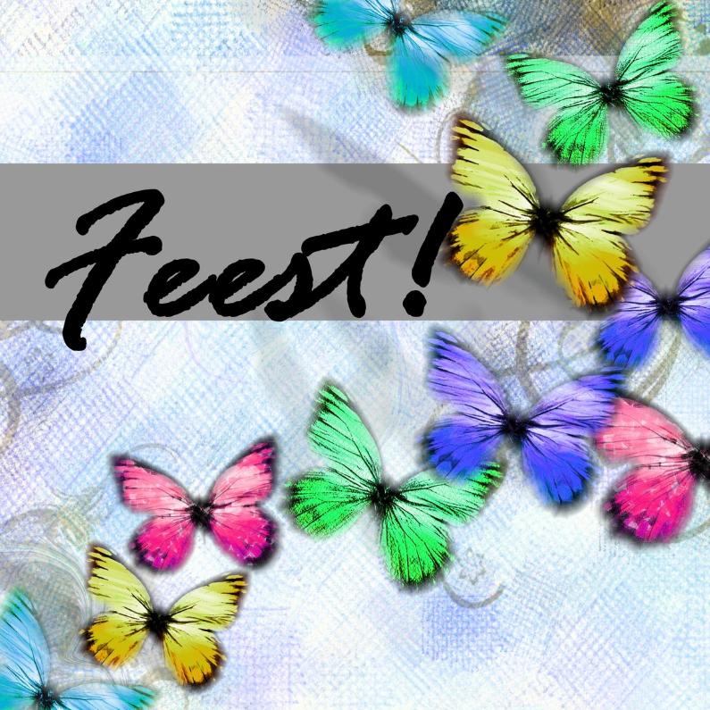 Uitnodigingen - feest vlinders