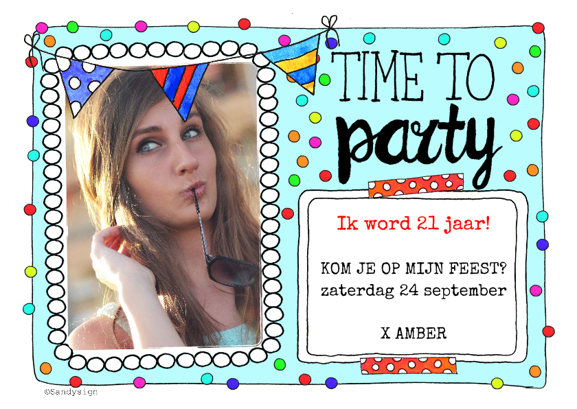 Uitnodigingen - Feestelijke uitnodiging time to party confetti - SD