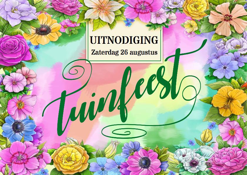 Uitnodigingen - Feestelijke uitnodiging voor een tuinfeest met bloemen