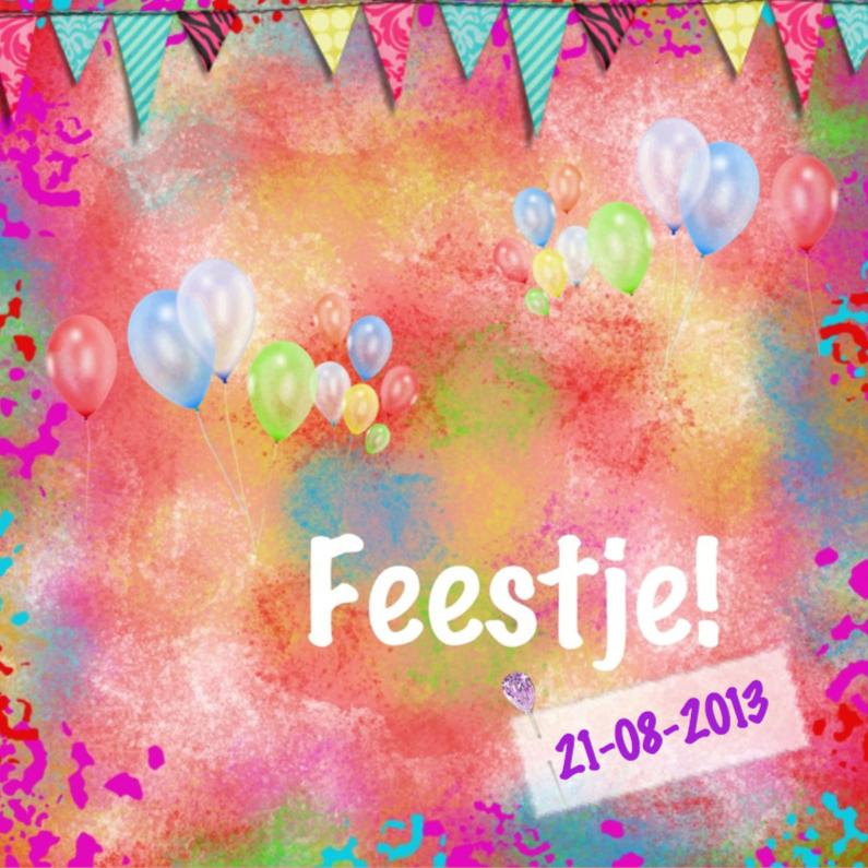 Uitnodigingen - Feestje ballonnen en slingers