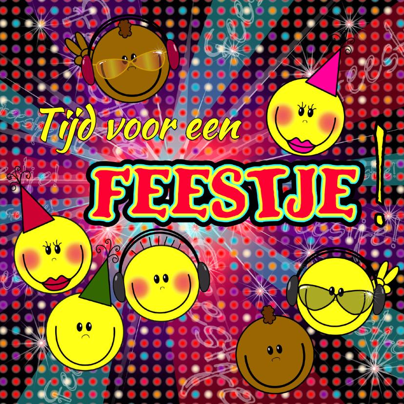 Uitnodigingen - FEESTJE! Smileys disco
