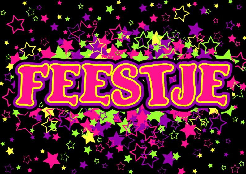 Uitnodigingen - FEESTJE uitnodiging gekleurde STERREN