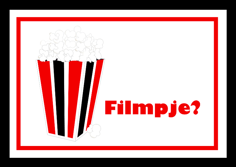 Uitnodigingen - Filmpje popcorn kaart