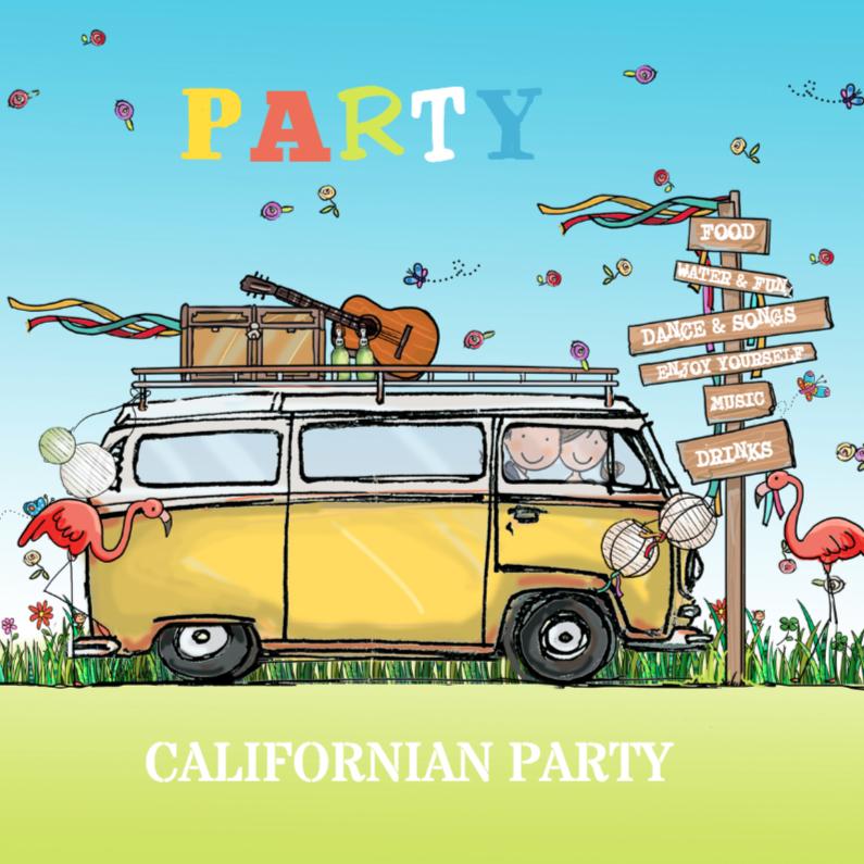 Uitnodigingen - Flamingo en VW bus