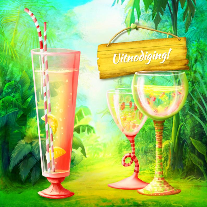 Uitnodigingen - Fleurige uitnodiging feest