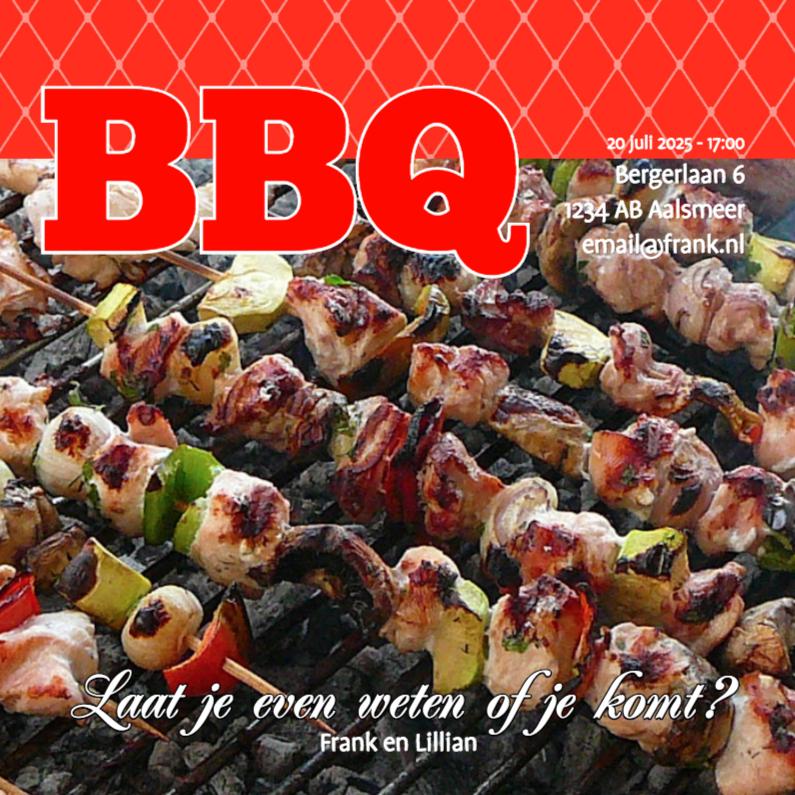 Uitnodigingen - Foto 4kant BBQ - BK