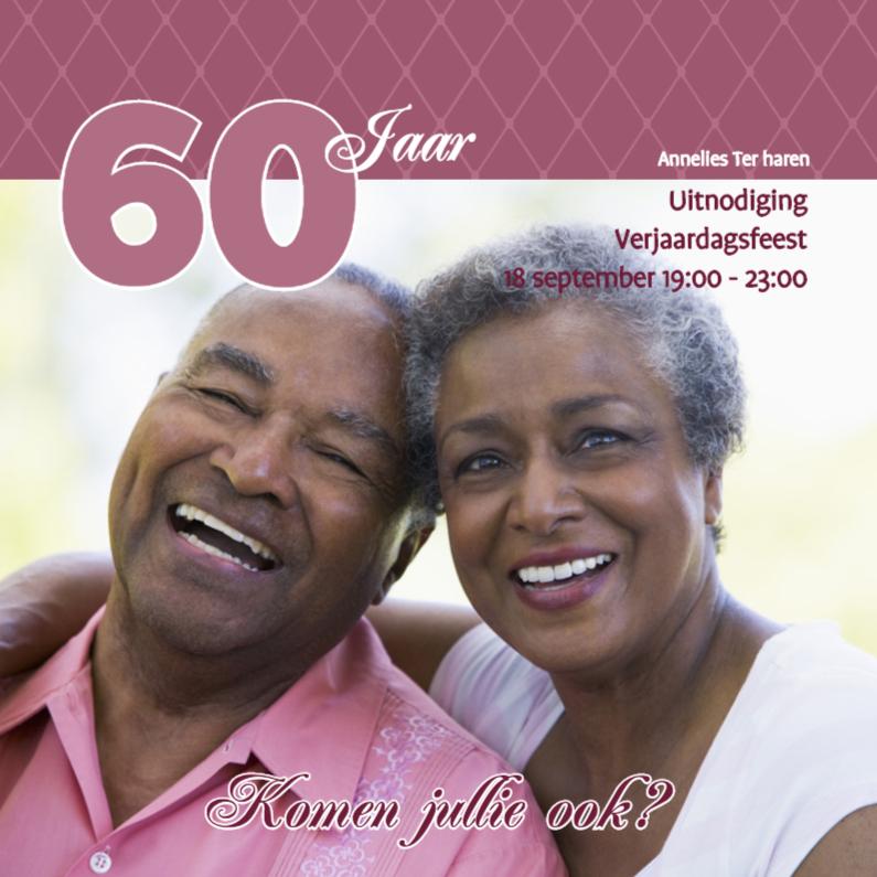 Uitnodigingen - Foto 4kant Verjaardag roze - BK