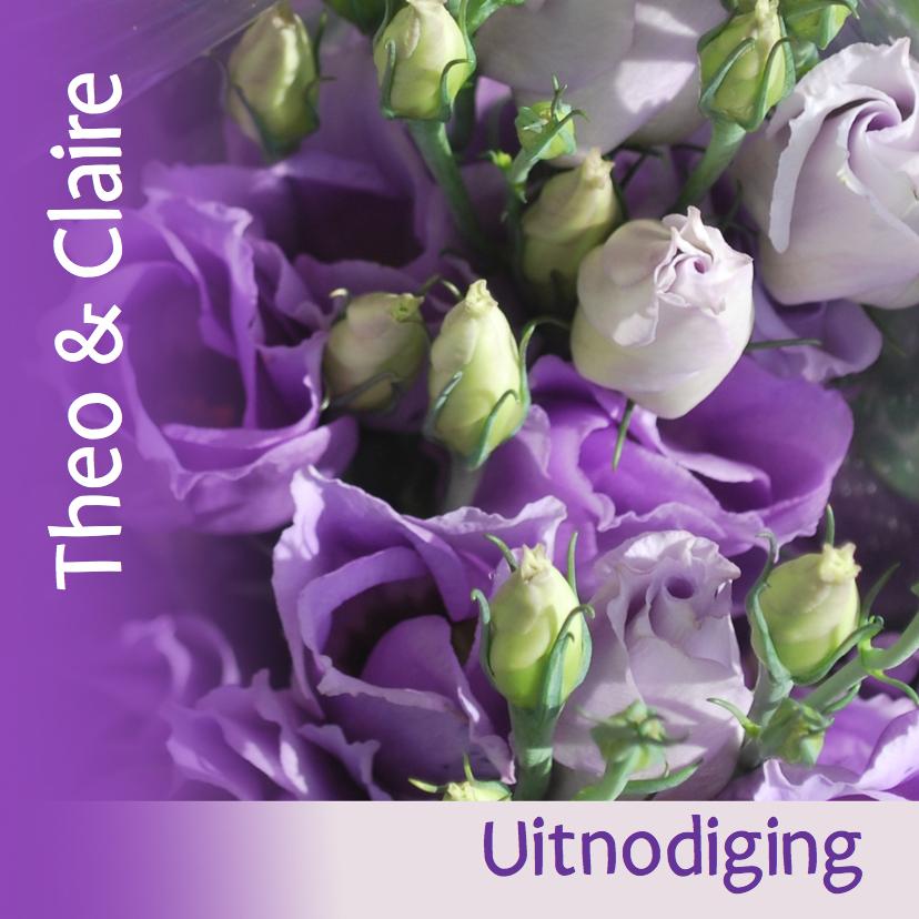 Uitnodigingen - Fotokaart bloemen paars wit groen