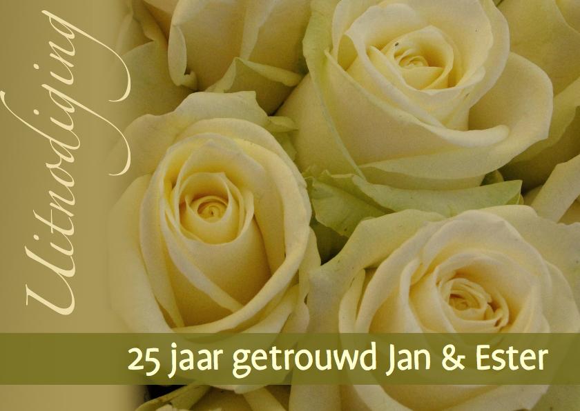 Uitnodigingen - Fotokaart geel witte rozen