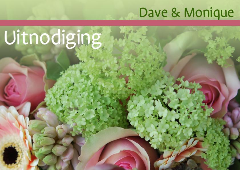 Uitnodigingen - Fotokaart huwelijksjubileum gr roze