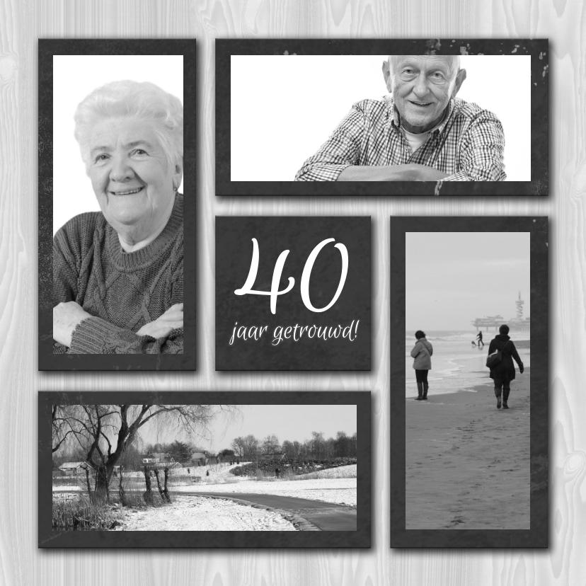Uitnodigingen - fotokaart jubileum grijs hout