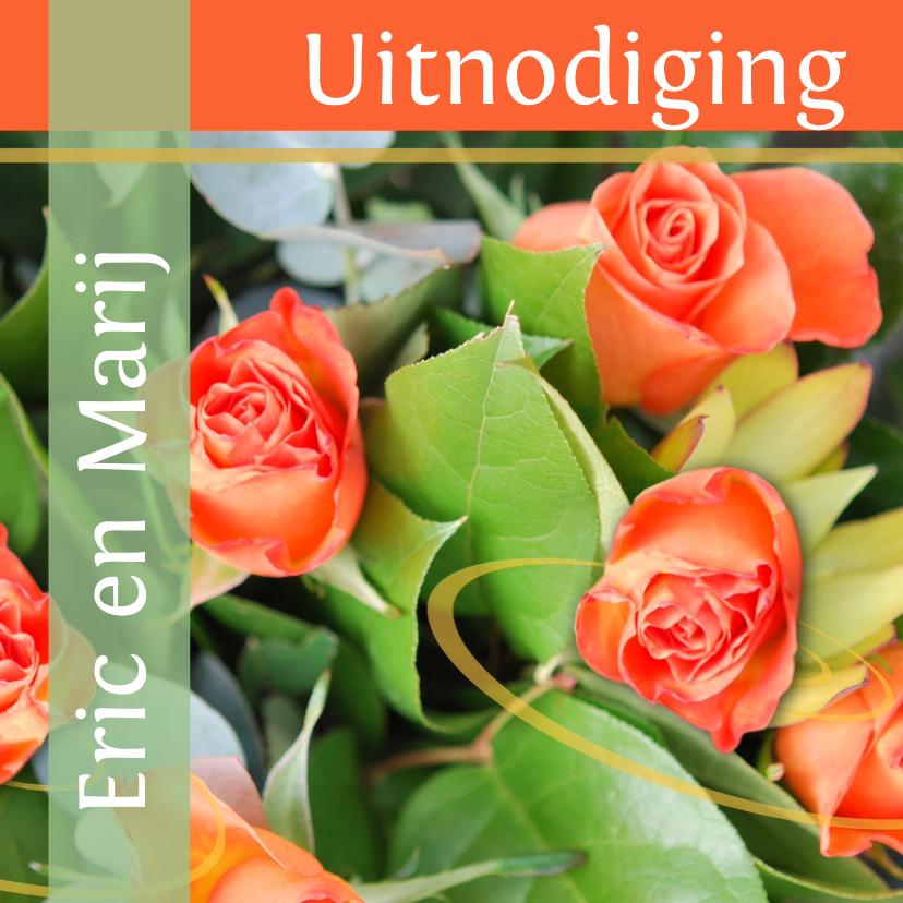 Uitnodigingen - Fotokaart uitnodiging groen oranje
