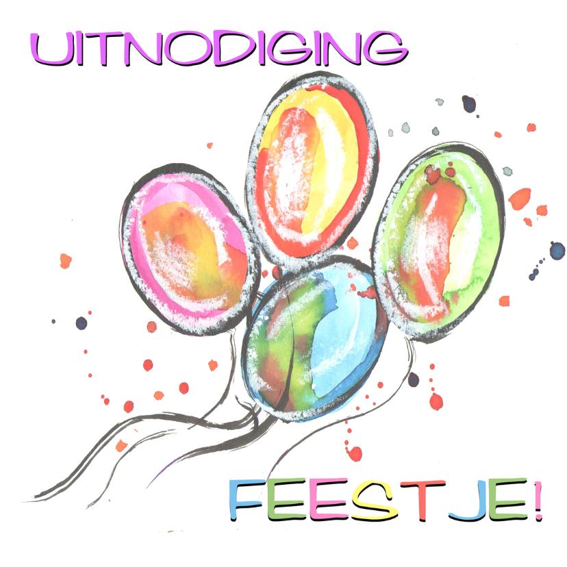 Uitnodigingen - Gekleurde ballonnen